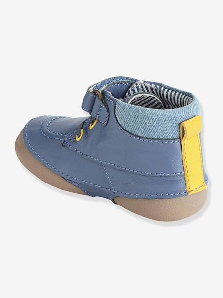 Boys Denim & Leather Boots, Designed For Crawling Babies BEIGE MEDIUM SOLID+Dark blue - vertbaudet enfant
