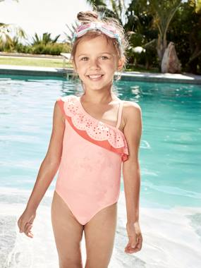 Girls-1-Piece Swimsuit for Girls, Asymmetrical Ruffle
