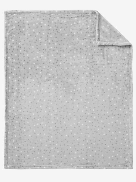 Star Printed Microfibre Blanket Blue+Light grey - vertbaudet enfant