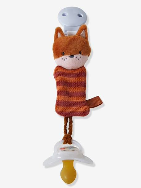 Dummy Holder with Clip, Fox ORANGE MEDIUM SOLID WITH DESIG - vertbaudet enfant