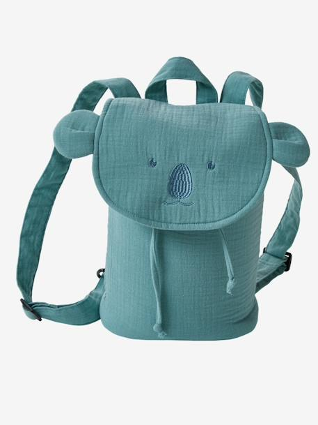 Backpack with Animals, in Cotton BLUE BRIGHT SOLID WITH DESIGN+GREEN MEDIUM SOLID WITH DESIG - vertbaudet enfant