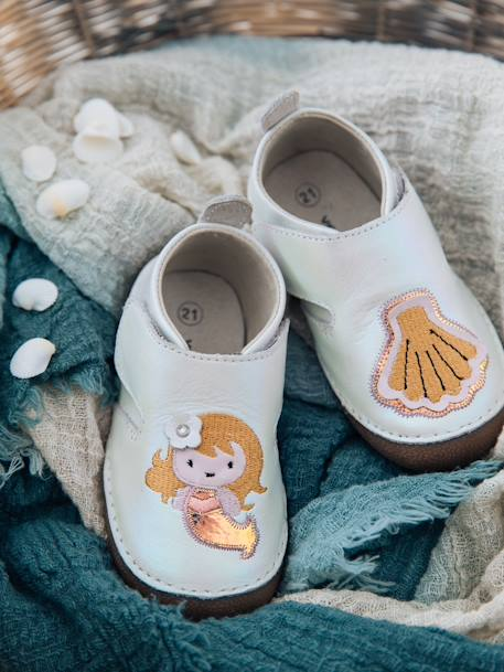 8ae6d65a2fe96 Soft Leather Shoes for Baby Girls - white light solid with design, Shoes