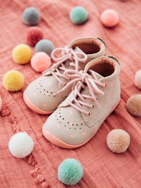 Shoes-Baby Footwear-Baby's First Steps-Leather Booties for Baby Girls, Designed for First Steps