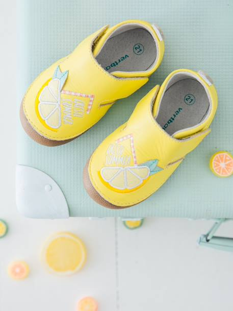 ea785cfe5f0be Soft Leather Shoes for Baby Girls - yellow light solid with design, Shoes