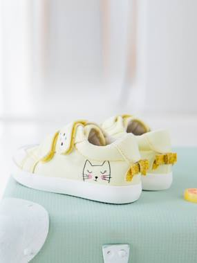 Shoes-Baby Footwear-Baby Girl Walking-Trainers-Touch-Fastening Trainers in Canvas for Baby Girls