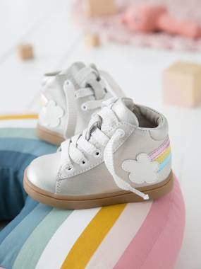 Vertbaudet Sale-Iridescent Leather Trainers for Baby Girls