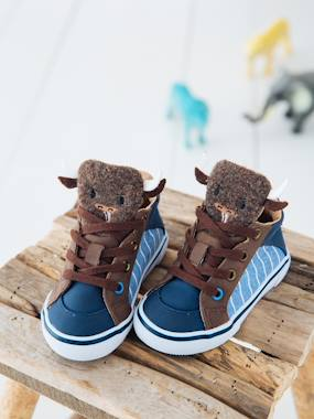 Shoes-Baby Footwear-Trainers with Buffalo-Shaped Tongue for Boys