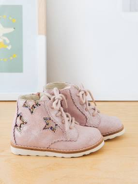 Shoes-Leather Lace-up Boots for Baby Girls