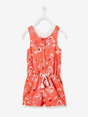 Girls-Dungarees & Playsuits-Striped Playsuit, with Macramé Butterfly, for Girls