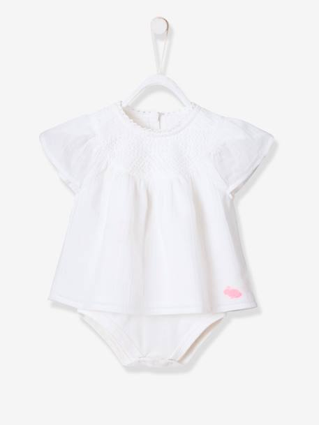 Occasion Wear Blouse-bodysuit, Lace Neckline, for Baby Girls WHITE LIGHT SOLID - vertbaudet enfant
