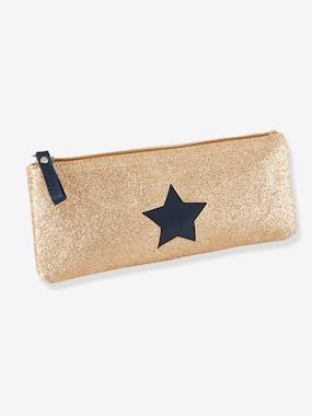 Girls-Accessories-School Supplies-Pencil Case with Glittery Star for Girls