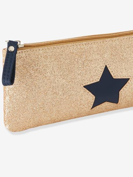 Pencil Case with Glittery Star for Girls BEIGE MEDIUM SOLID WITH DECOR - vertbaudet enfant