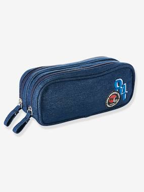 Boys-Accessories-School Supplies-Denim Pencil-Case with Patches, for Boys