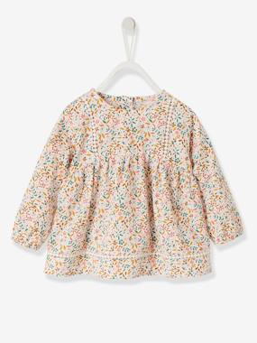 Baby-Blouses & Shirts-Blouse with Stylish Ribbon & Print for Girls