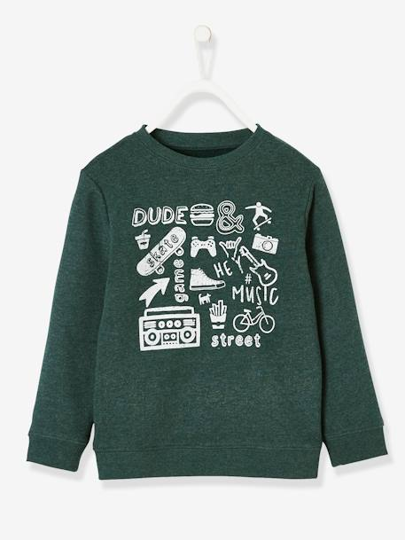 Sweatshirt with Graphic Motif, for Boys GREEN LIGHT MIXED COLOR+RED DARK MIXED COLOR - vertbaudet enfant