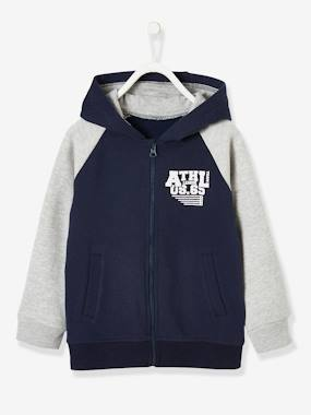 Boys-Sportswear-Zipped Jacket with Hood for Boys