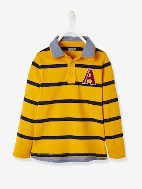 Boys-Tops-Striped 2-in-1 Effect Polo Shirt, for Boys