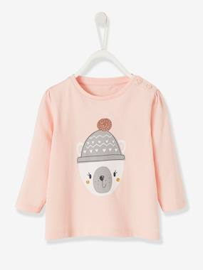 Baby-T-shirts & Roll Neck T-Shirts-Top with Fun Motif, for Baby Girls