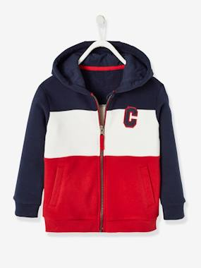 Boys-Cardigans, Jumpers & Sweatshirts-Jacket with Hood, Colourblock Effect, for Boys