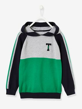 Boys-Cardigans, Jumpers & Sweatshirts-Jumpers-Colourblock Jumper with Hood for Boys