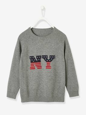 Boys-Cardigans, Jumpers & Sweatshirts-Jumpers-Jumper with Flag Motif for Boys