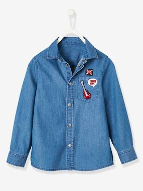 Boys-Shirts-Denim Shirt with Patches, for Boys