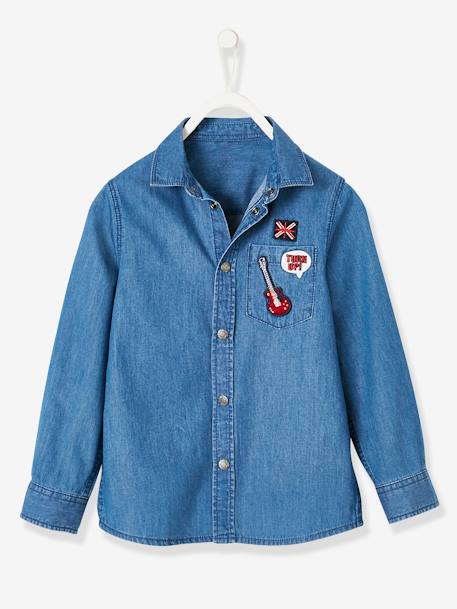 Denim Shirt with Patches, for Boys BLUE MEDIUM WASCHED - vertbaudet enfant