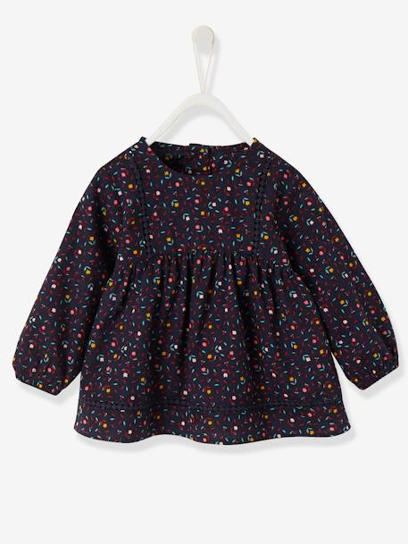 Blouse with Stylish Ribbon & Print for Girls BLUE DARK ALL OVER PRINTED+WHITE LIGHT ALL OVER PRINTED - vertbaudet enfant