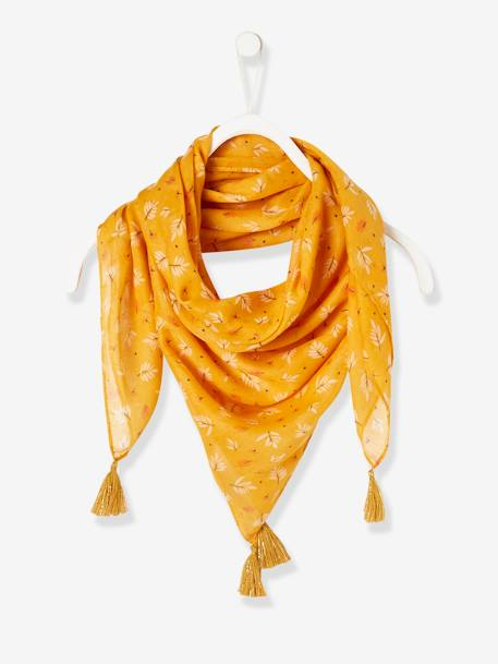 Scarf with Tassels YELLOW MEDIUM ALL OVER PRINTED - vertbaudet enfant