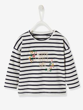 Baby-T-shirts & Roll Neck T-Shirts-Sailor-type Top for Baby Girls