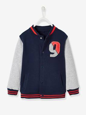 Boys-Cardigans, Jumpers & Sweatshirts-Fleece College-Style Jacket, for Boys