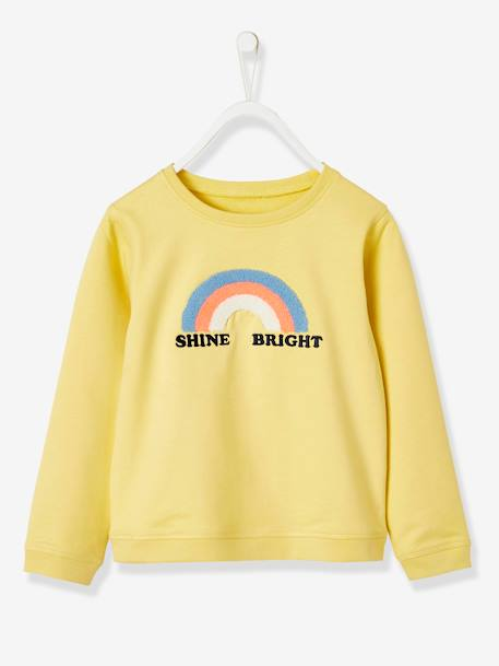 Rainbow Sweatshirt, for Girls YELLOW LIGHT SOLID WITH DESIGN - vertbaudet enfant