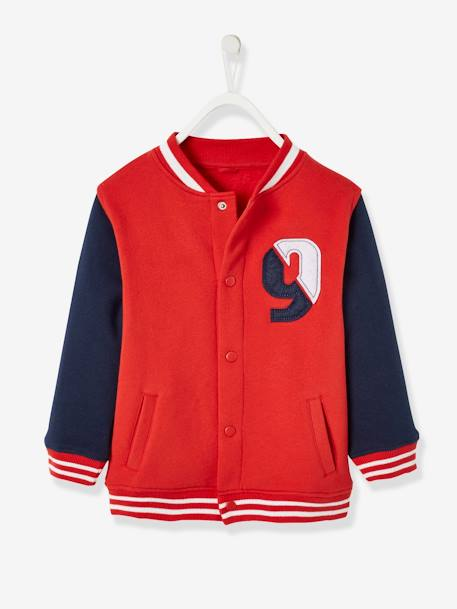 Fleece College-Style Jacket, for Boys BLUE DARK SOLID WITH DESIGN+RED DARK SOLID WITH DESIGN - vertbaudet enfant