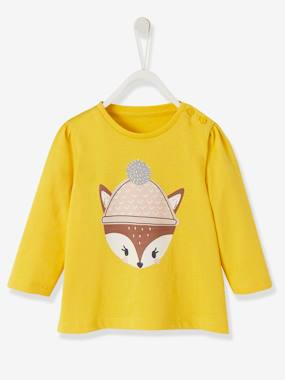 Baby-T-shirts & Roll Neck T-Shirts-T-shirts-Top with Fun Motif, for Baby Girls