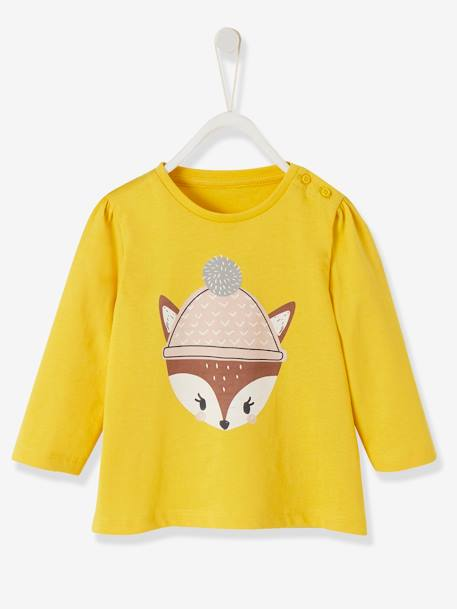 Top with Fun Motif, for Baby Girls PINK LIGHT SOLID WITH DESIGN+YELLOW MEDIUM SOLID WTH DESIGN - vertbaudet enfant