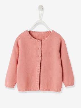 Vertbaudet Basics-Baby-Jumpers, Cardigans & Sweaters-Cardigan in Fancy Knit, for Baby Girls