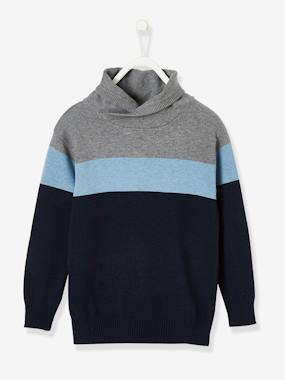Vertbaudet Collection-Boys-Colourblock Jumper with Crossover Collar for Boys