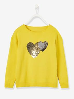 Vertbaudet Collection-Girls-Cardigans, Jumpers & Sweatshirts-Top with Reversible Sequins, for Girls