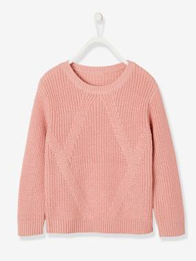 Girls-Cardigans, Jumpers & Sweatshirts-Fancy Jumper for Girls, in Fisherman Rib Knit