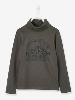 Boys-Tops-Roll Neck T-Shirts-Turtleneck Top with Graphic Motif for Boys