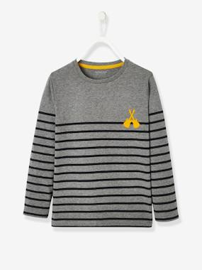 Halloween-Striped Top with Graphic Motif, for Boys
