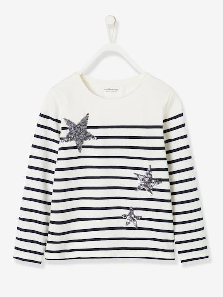 Top with Sequins, for Girls BLUE DARK STRIPED+WHITE LIGHT STRIPED+YELLOW DARK STRIPED - vertbaudet enfant