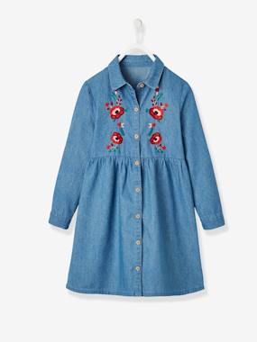 Vertbaudet Collection-Girls-Dresses-Embroidered Denim Dress