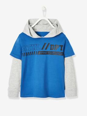 Boys-Tops-T-Shirts-2-in-1 Effect Sports Top with Hood, for Boys