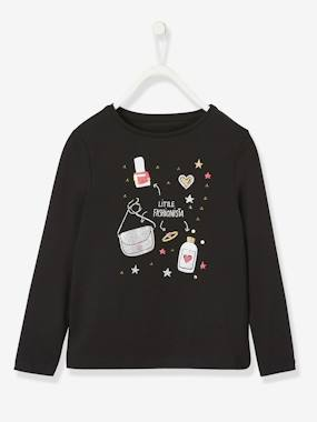 Vertbaudet Collection-Girls-Tops-Top with Iridescent Motifs, for Girls