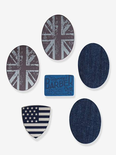 Pack of 6 Boys' Iron-on Patches BLUE DARK ALL OVER PRINTED - vertbaudet enfant