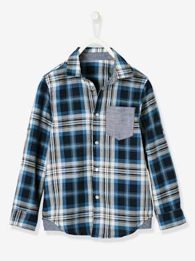 Boys-Shirts-Plaid Shirt with Motif on the Back, for Boys
