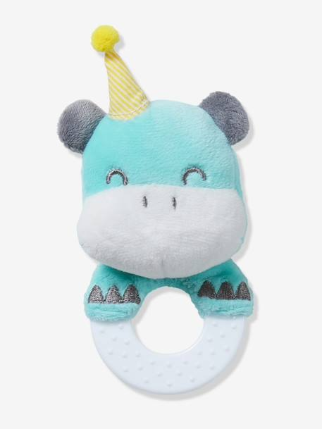 Hippopotamus Teething Ring BLUE MEDIUM SOLID WITH DESIGN - vertbaudet enfant