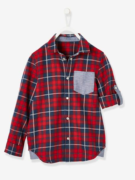 Plaid Shirt, Large Motif on the Back, for Boys RED DARK CHECKS - vertbaudet enfant