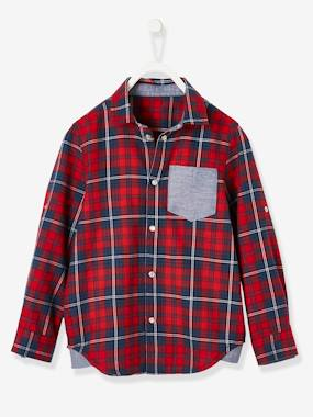 Black Friday-Boys-Plaid Shirt, Large Motif on the Back, for Boys